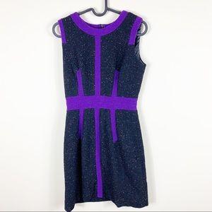 Milly purple/black color spec tweed dress
